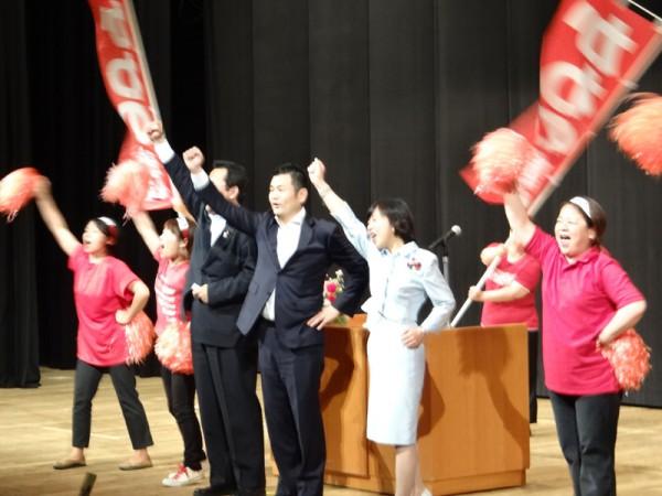 参加者の勝利へ向けた思いが一つになった八代での「頑張ろう!」かわの義博