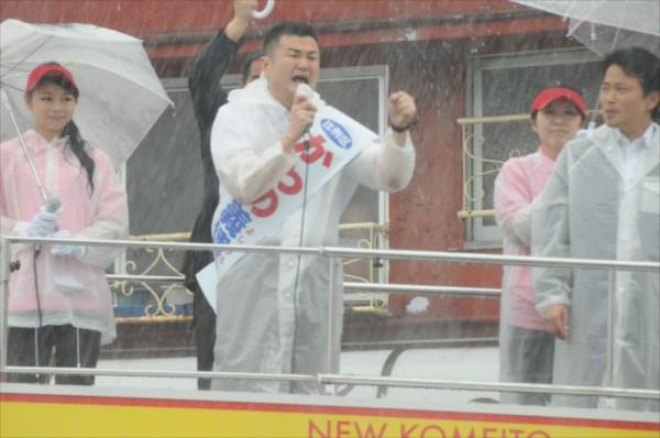 7月4日、参議院比例区候補かわの義博、飯塚市街頭