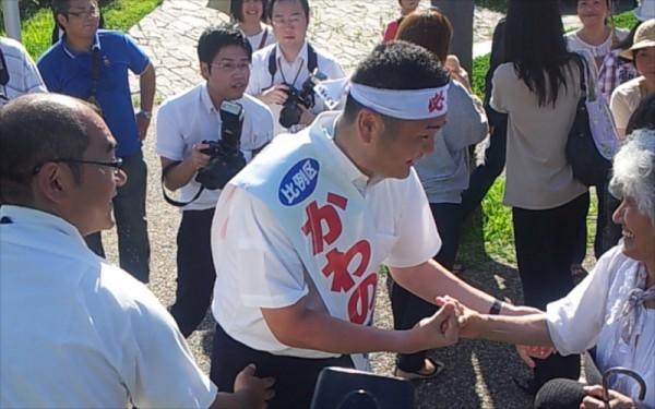 イオンモール香椎浜店前でのかわの義博街頭演説会