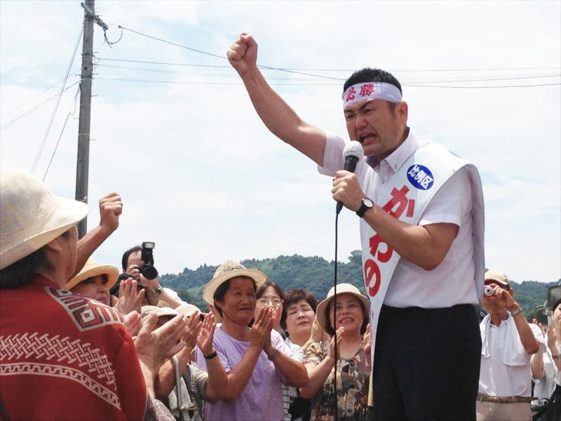 かわの義博、杵築市での街頭演説