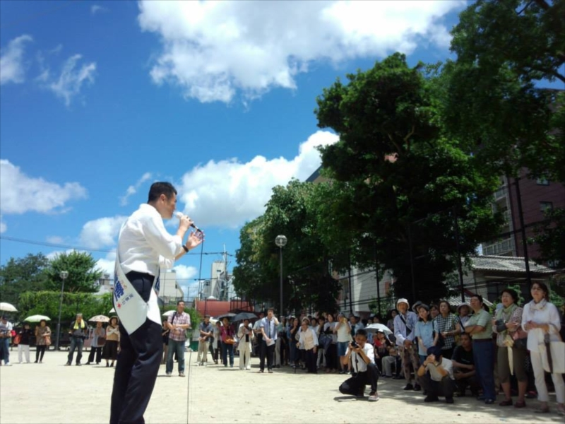 かわの義博、長崎市での街頭演説