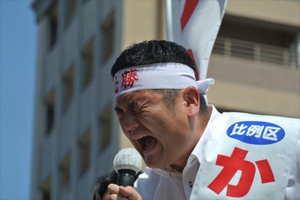 かわの義博、福岡市唐人町での街頭演説