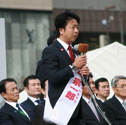福岡市長選に挑む高島候補の出陣式に参加