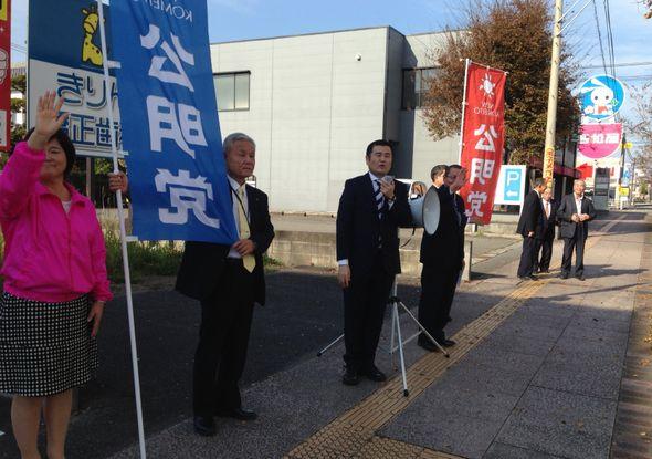 宮崎県日向市で街頭演説