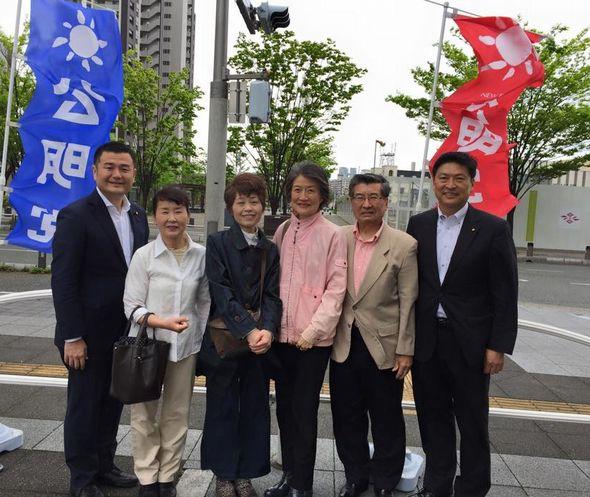 大塚県議と共に憲法記念日の街頭