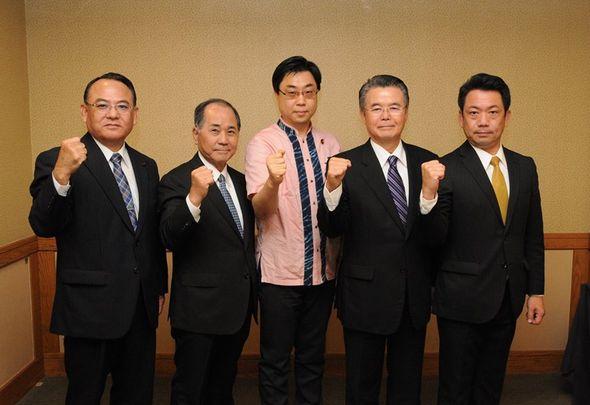 県議選の候補予定者4名と秋野参議院議員