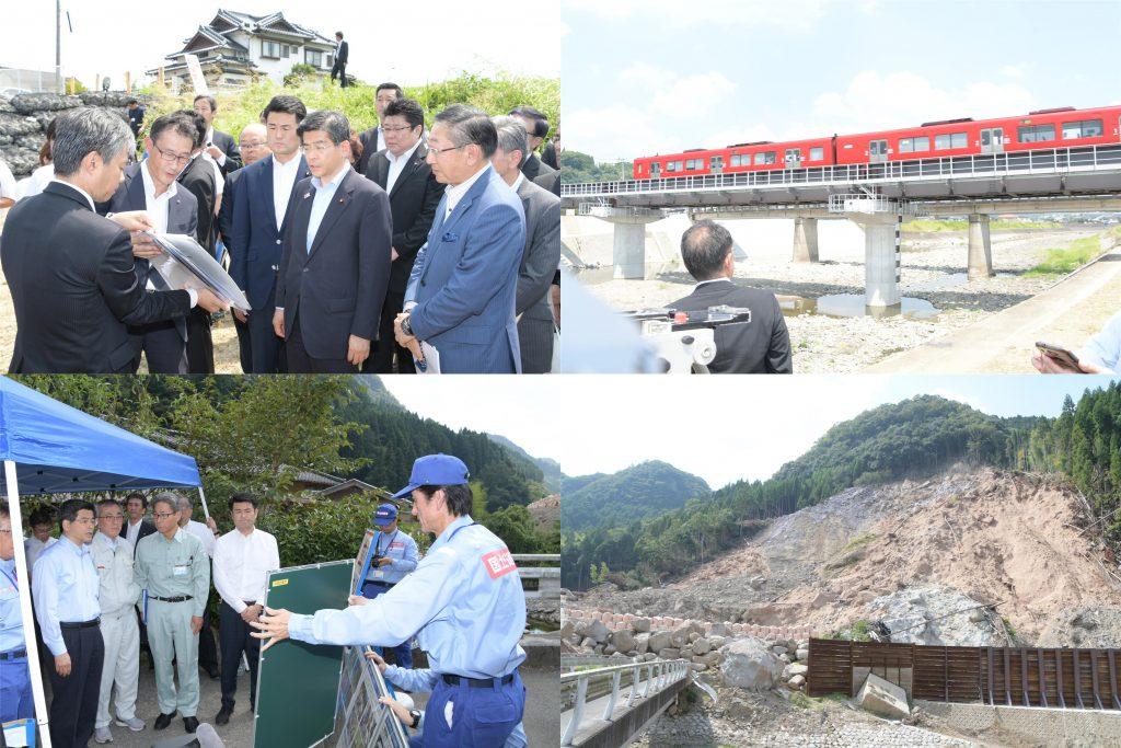 石井大臣と共に大分県内の被災地を視察