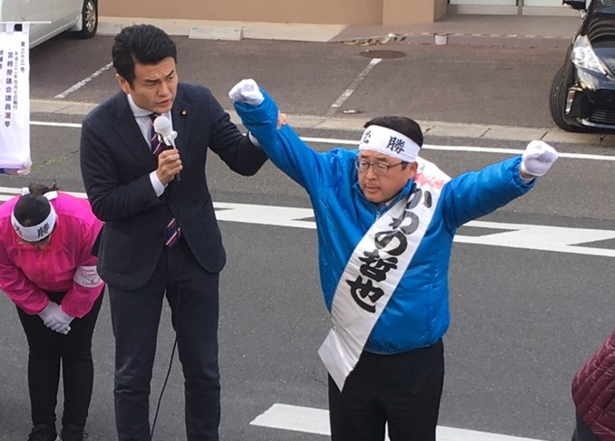 延岡市で街頭演説
